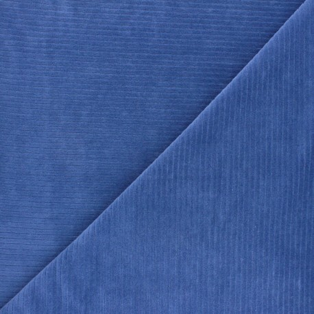 Tissu jersey velours côtelé - bleu x 10cm