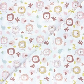 Pastel Jungle Cotton fabric - White Lion x 10cm