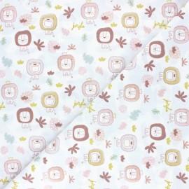 Tissu coton Pastel Jungle Lion - Blanc x 10cm