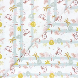 Pastel Jungle Cotton fabric - White Monkey x 10cm