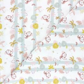 Tissu coton Pastel Jungle Monkey - Blanc x 10cm