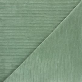 Ribbed velvet jersey fabric - sage green x 10cm