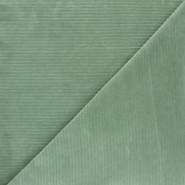 Tissu jersey velours côtelé - vert sauge x 10cm