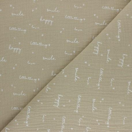 Tissu double gaze de coton Happiness - beige x 10cm