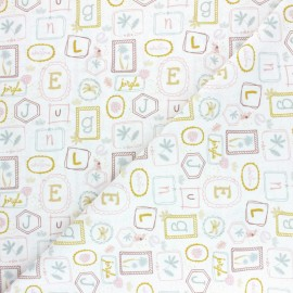 Pastel Jungle Cotton fabric - White Letters x 10cm