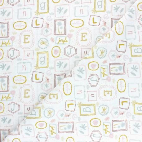 Tissu coton Pastel Jungle Letters - Blanc x 10cm