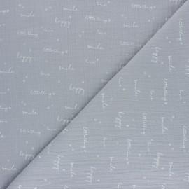 Tissu double gaze de coton Happiness - gris x 10cm