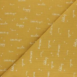 Double coton gauze fabric - mustard yellow Happiness x 10cm