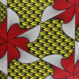 Tissu Wax spider - jaune x 10cm
