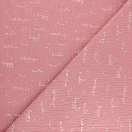 Tissu double gaze de coton Happiness - rose x 10cm