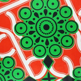 Wax print fabric - red Hioma x 10cm
