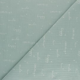 Double coton gauze fabric - opaline green Happiness x 10cm