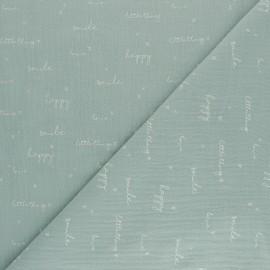 Tissu double gaze de coton Happiness - vert opaline x 10cm