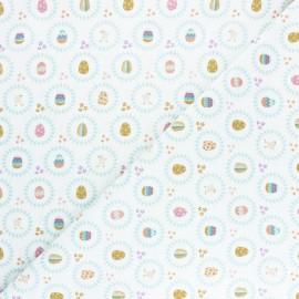 Tissu coton Happy Easter Oeufs - Blanc x 10cm