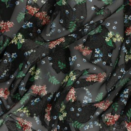 Lurex flowery Muslin fabric - black/green Lyvia x 50cm