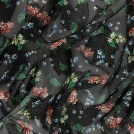 ♥ Coupon 300 cm X 140 cm ♥ Tissu Mousseline lurex Lyvia - noir/vert