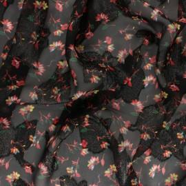 ♥ Coupon 200 cm X 140 cm ♥  Tissu Mousseline lurex Lydia - noir/rouge