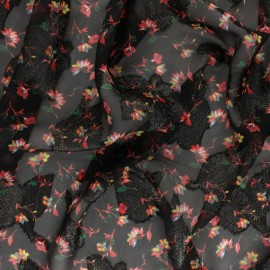 Lurex Muslin fabric - black Margarita x 50cm