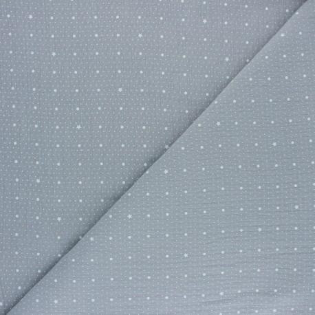 Double cotton gauze fabric - grey Pluie de pois x 10cm