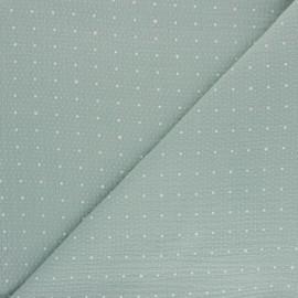 Double cotton gauze fabric - opaline green Pluie de pois x 10cm