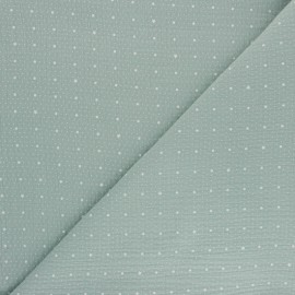 Tissu double gaze de coton Pluie de pois - vert opaline x 10cm