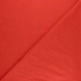 Openwork cotton voile fabric - coral Léonide x 10cm