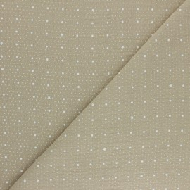 Double cotton gauze fabric - beige Pluie de pois x 10cm