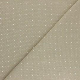 Tissu double gaze de coton Pluie de pois - beige x 10cm