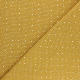 Double cotton gauze fabric - mustard yellow Pluie de pois x 10cm