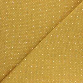 Tissu double gaze de coton Pluie de pois - jaune moutarde x 10cm