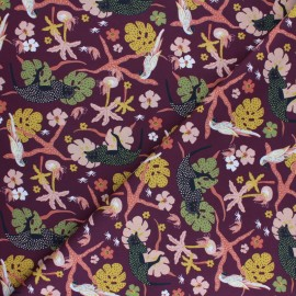 Savane Sauvage Cotton fabric - Marsala Jaguar x 10cm
