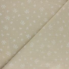 Tissu double gaze de coton Floraison - beige x 10cm