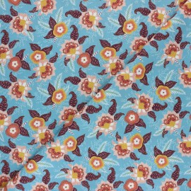 Savane Sauvage Cotton fabric - Light blue Fleurs x 10cm