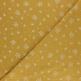 Tissu double gaze de coton Floraison - jaune moutarde x 10cm