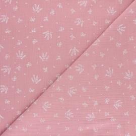 Double cotton gauze fabric - pink Floraison x 10cm
