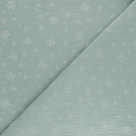 Double cotton gauze fabric - opaline green Floraison x 10cm