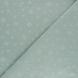 Tissu double gaze de coton Floraison - vert opaline x 10cm