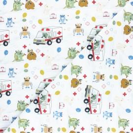 Tissu coton Funny Doctor Camion - Blanc x 10cm