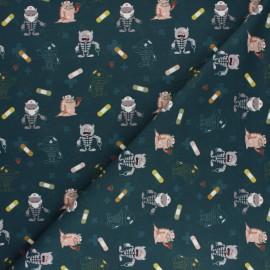 Tissu coton Funny Doctor Squelette - Bleu pétrole x 10cm