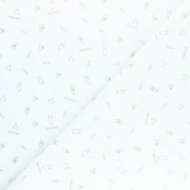 ♥ Coupon 110 cm X 145 cm ♥ Tissu double gaze de coton Rock'n roll - blanc