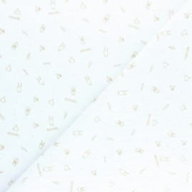 Double cotton gauze fabric - white Rock'n roll x 10cm