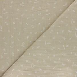 Tissu double gaze de coton Rock'n roll - beige x 10cm