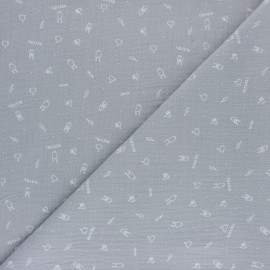 Tissu double gaze de coton Rock'n roll - gris x 10cm
