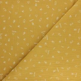 Double cotton gauze fabric - mustard yellow Rock'n roll x 10cm