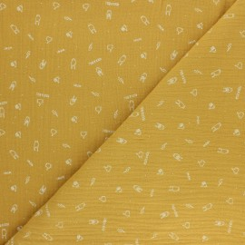 Tissu double gaze de coton Rock'n roll - jaune moutarde x 10cm