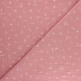 Double cotton gauze fabric - pink Rock'n roll x 10cm