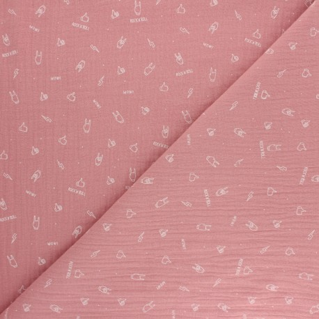 Tissu double gaze de coton Rock'n roll - rose x 10cm