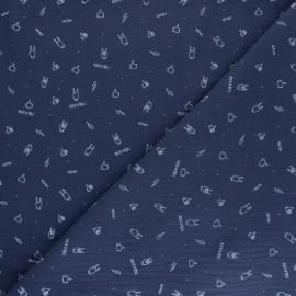 Tissu double gaze de coton Rock'n roll - bleu x 10cm