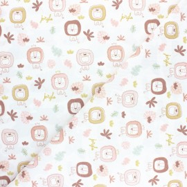 Pastel Jungle stitched cotton fabric - White Lion x 10cm