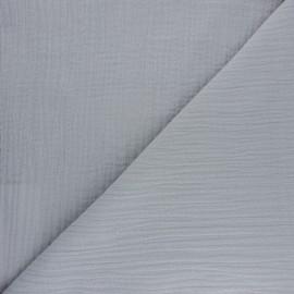 Double cotton gauze fabric - grey Tendresse x 10cm
